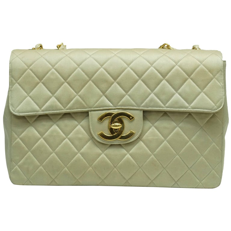 Chanel Gold Fabric Maxi Single Flap Handbag - GHW - Early 90's For Sale