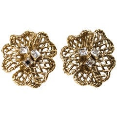Christian Dior gold-plated flowers earrings. Circa 1977