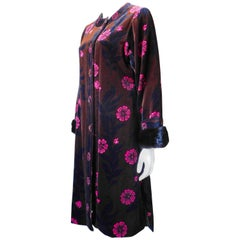 1960's Emilio Pucci Printed Velvet Coat with Mink Cuffs