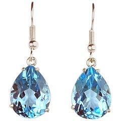 20 Carat Sky Blue Topaz Sterling Silver Earrings