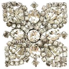 1960'S Kramer Of New York Swarovski Crystal & Silver Butterfly Brooch