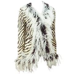 Valentino Animal Print Sequin Silk Jacket with Maribou Trim - M