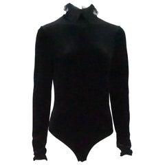 Christian Dior Black Velvet Bodysuit - 42 - Circa 70's