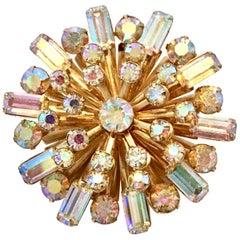 """20th Century Gold & Austrian Crystal """"Starburst"""" Brooch"""