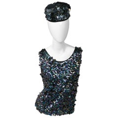 1960s Midnight Paillette Sequin Wool Hat and Sleeveless Sweater Set