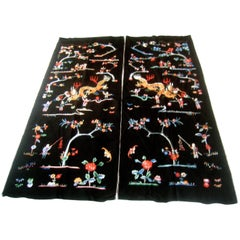 Exotic Embroidered Asian Theme Pair of Satin Fabric Panels c 1970s