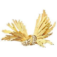 20th Century Art Deco Style Gold & Swarovski Crystal Brooch