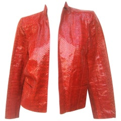 Exotic Ruby Red Snakeskin Jacket c 1980s