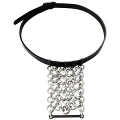 Paco Rabanne black leather and  chainmail necklace, circa 1996