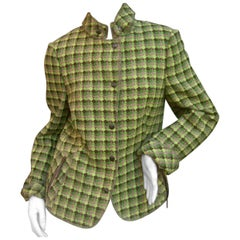 Akris Punto Green Plaid Wool Jacket