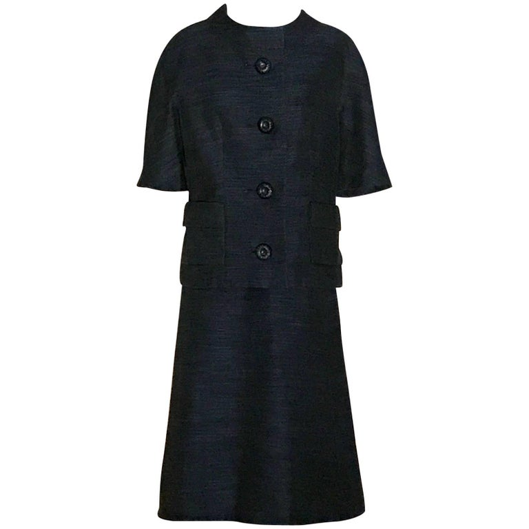 Christian Dior Vintage Style Blue and Black Jacket Skirt Suit, 1960s