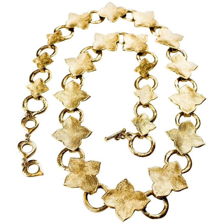 Yves Saint Laurent  lucky charm gold tone chain link belt. Circa 1970