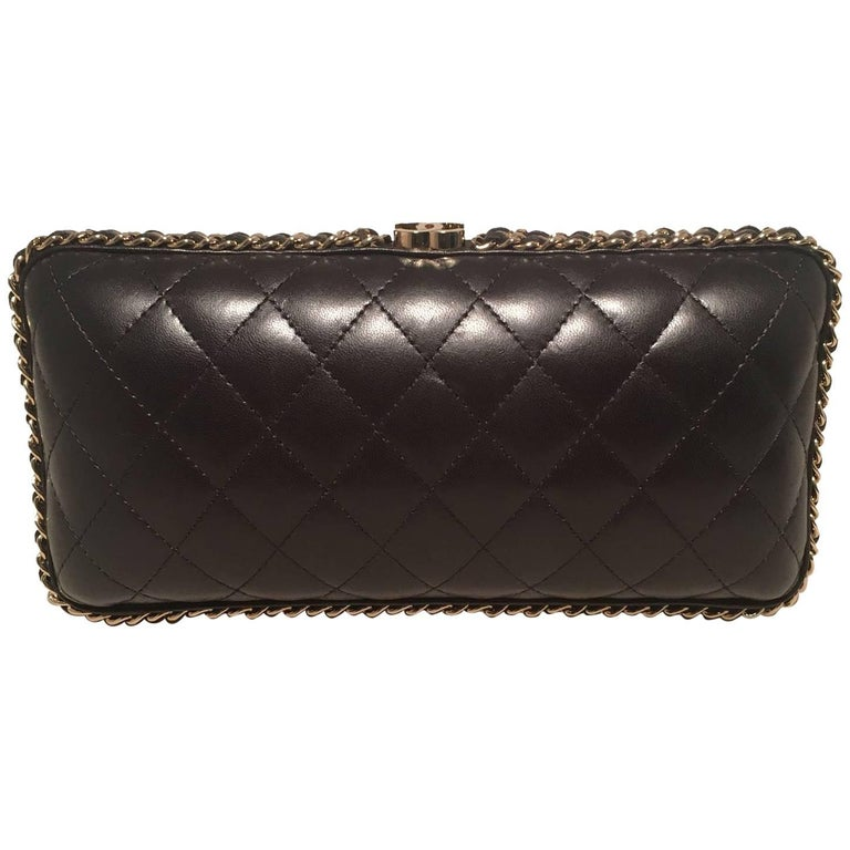 Chanel Black Quilted Lambskin Leather Convertible Clutch with Woven Chain Trim
