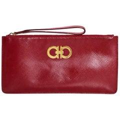 Salvatore Ferragamo Red Saffiano Wristlet Bag with Box