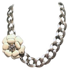Chanel Silver Chain Camellia Flower Choker Short Necklace