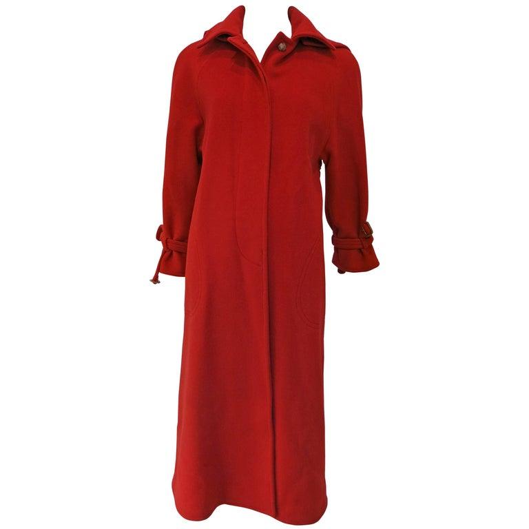 Calvin Klein Full Length Red Wool Coat