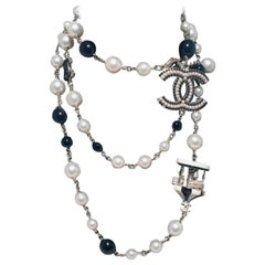 Chanel Black and White Pearl Beaded Carousel Long Necklace