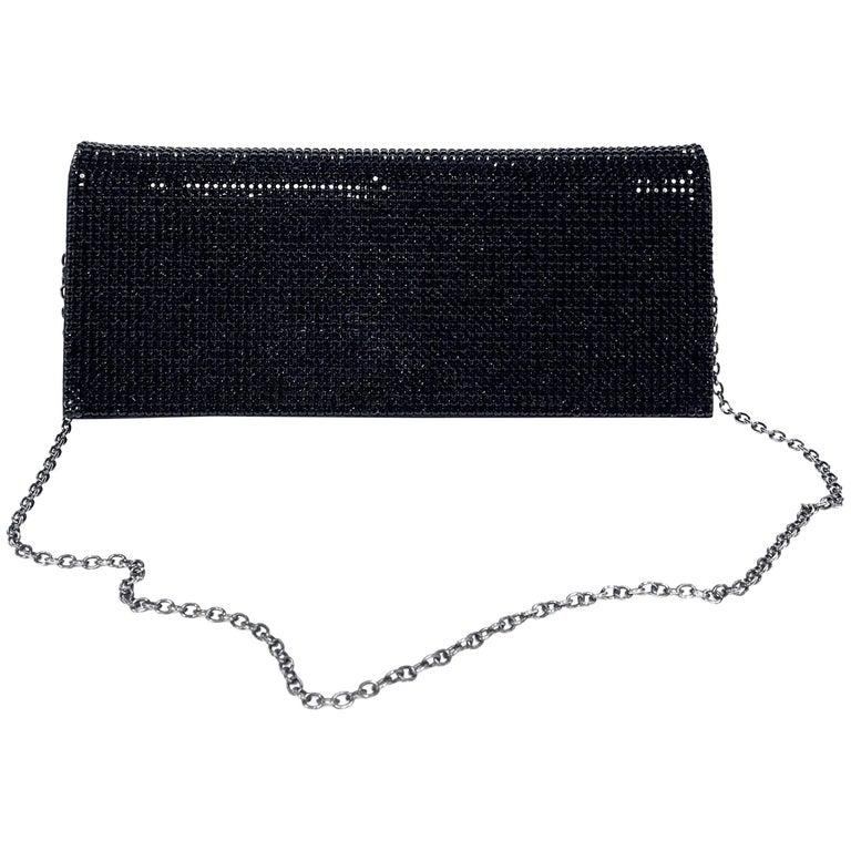 Escada Black Crystal Evening Shoulder Bag Clutch For Sale