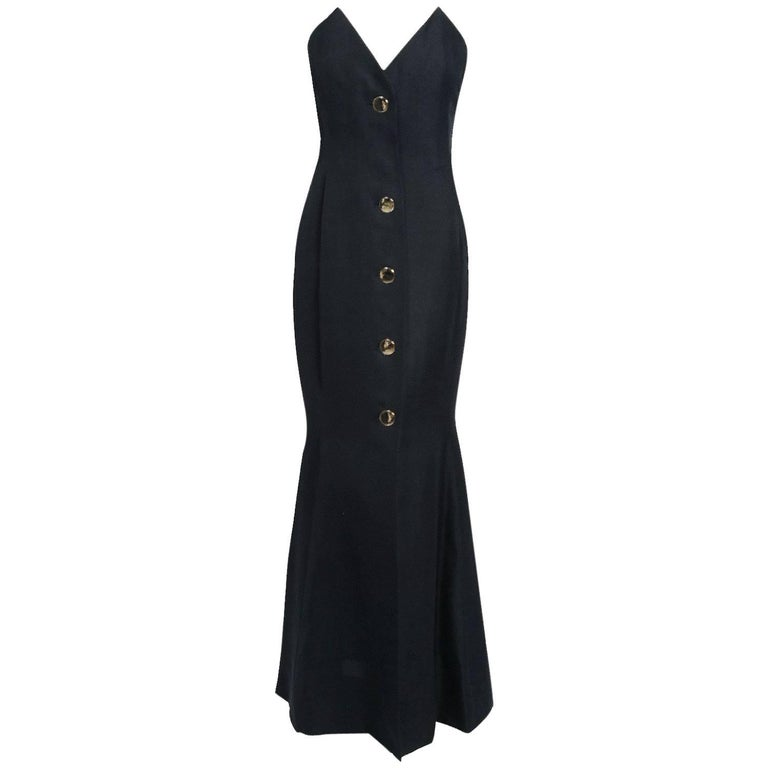 1979 Givenchy Haute-Couture Black Silk Linen Strapless Hourglass Mermaid Gown