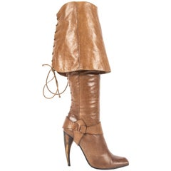 Alexander McQueen Spring-Summer 2003 tan leather turn over boots with horn heel