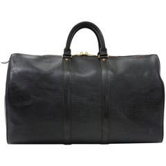 Vintage Louis Vuitton Keepall 45 Black Epi Leather Duffle Travel Bag