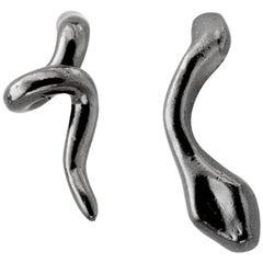 Giulia Barela Twirl 925 Silver and Black Rhodium Earrings