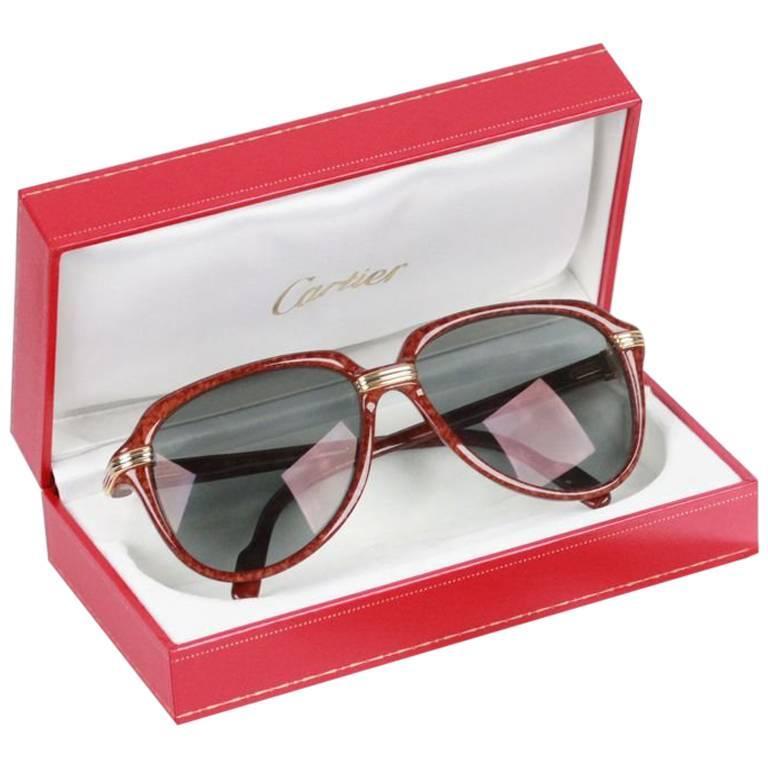 Cartier Paris Vitesse 1991 Rare Gold Brown Sunglasses 60 15 140 Nos