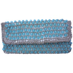 Italian Blue Beaded Clutch Bag with Silver Crochet Trim, 1950s