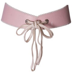 Yves Saint Laurent Rive Gauche Pink Leather Belt.