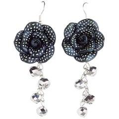 Clay Flower Dangle Hook Earrings