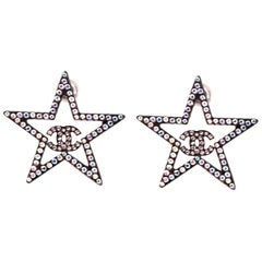 Chanel 2017 Strass Crystal CC Star Pierced Earrings with Box