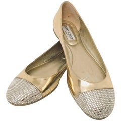 Jimmy Choo Crystal Embellished Cap Toe and Gold Leather Gaze Ballerinas
