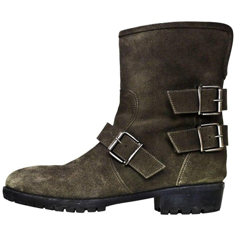 Giuseppe Zanotti Grey Suede Moto Ankle Boots Sz 38.5