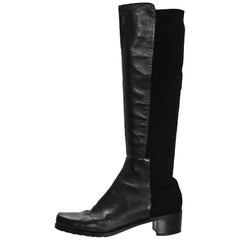 Stuart Weitzman Black Leather 50/50 Knee-High Boots