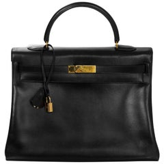 Hermes 1999 Vintage Black Box Leather 35cm Kelly Bag with Dust Bag