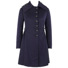 COUTURE c.1910's Edwardian WWI Navy Blue Wool Military Walking Coat