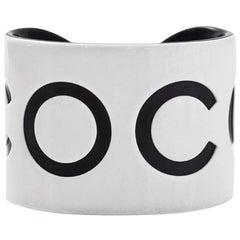 Chanel White & Black Resin Coco Cuff Bracelet XS