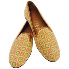 Stubbs & Wootton Sensible Needlepoint Fabric Slippers in Yellow Pink and Green