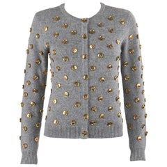 DOLCE & GABBANA Gray Cashmere Gold Button Embellished Crew Neck Cardigan