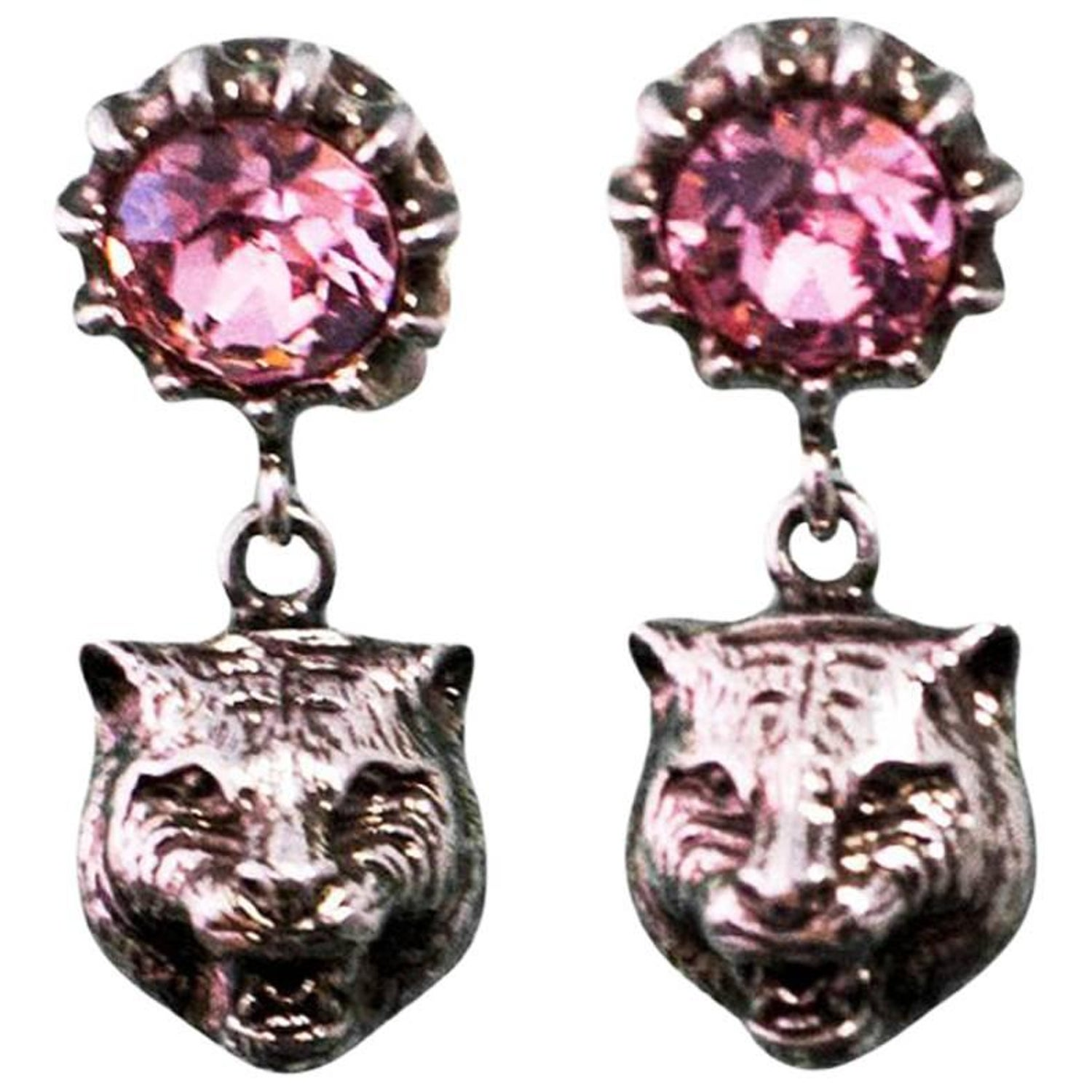 376e9c2f8c3 Gucci 2017 Pink Crystal Stud Earrings with Feline Head For Sale at 1stdibs