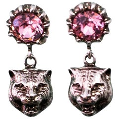 Gucci 2017 Pink Crystal Stud Earrings with Feline Head