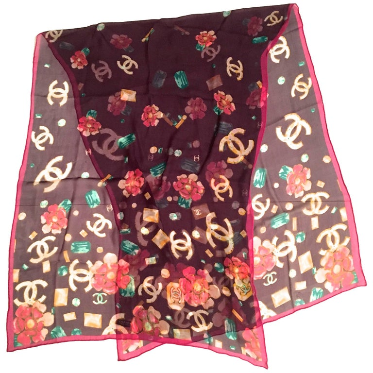 Chanel Silk Muslin Scarf / Shawl