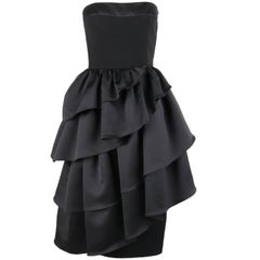 LOUIS FERAUD c.1980's Black Asymmetrical Tiered Ruffle Cocktail Dress