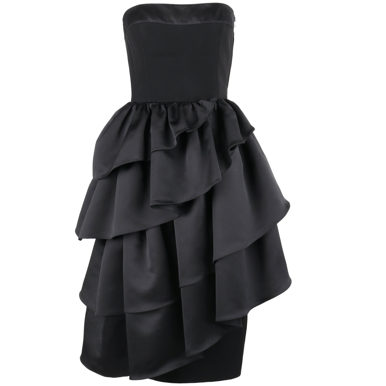 LOUIS FERAUD c.1980's Black Asymmetrical Tiered Ruffle Cocktail Dress
