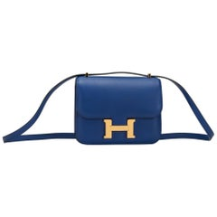 Hermes Mini Constance 18cm Electric Blue Bag