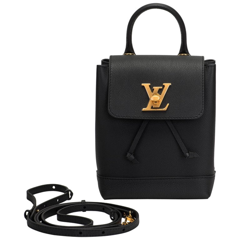 9ea1d9fe9ae0 Louis Vuitton Sold Out New Black Lockme Backpack For Sale. Louis Vuitton  SOLD OUT limited edition lockme mini backpack in black leather and satin  gold metal