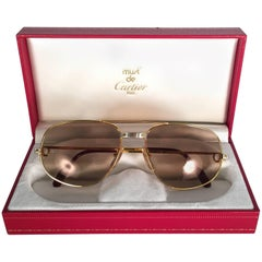 New Vintage Cartier Romance Santos 58MM France 18k Gold Plated Sunglasses