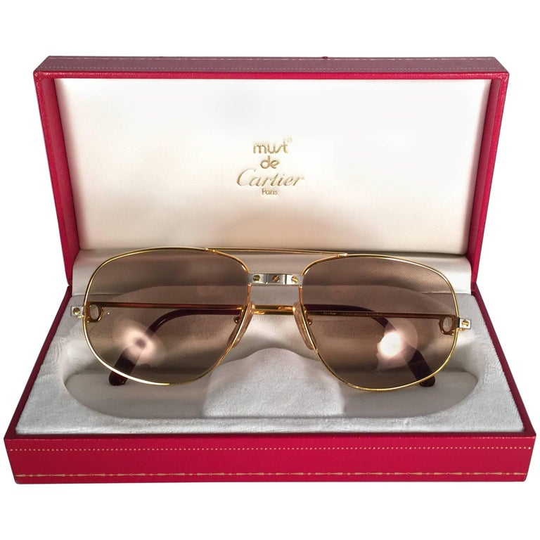 f6b68a04c32 New Vintage Cartier Romance Santos 58MM France 18k Gold Plated Sunglasses  For Sale