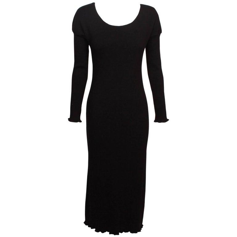 Comme des Garcons Black Wool Tricot Dress