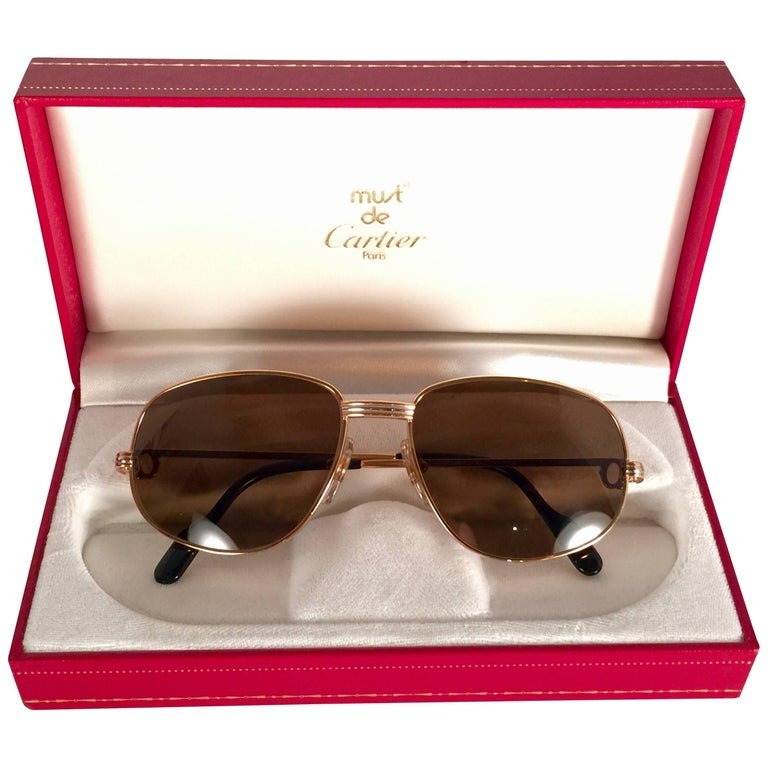 New Vintage Cartier Romance Vendome 54MM France 18k Rose Gold Plated Sunglasses